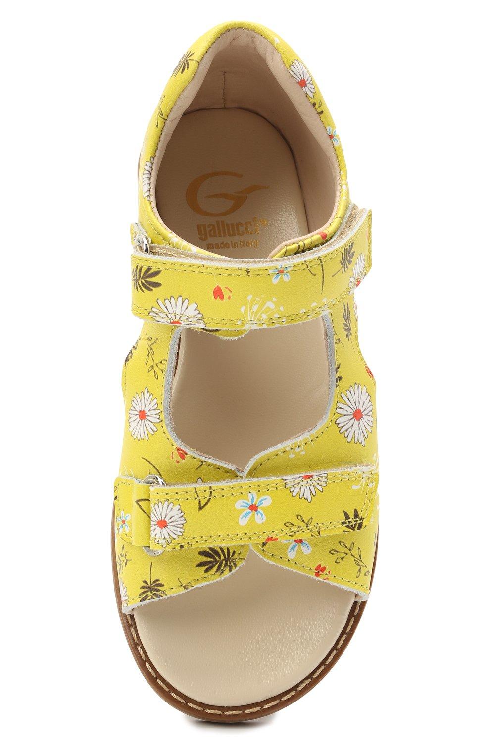 Детские кожаные босоножки GALLUCCI желтого цвета, арт. T00434BM/SA P C 2794 VSI | Фото 4 (Материал внутренний: Натуральная кожа)