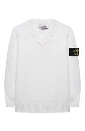 Детский хлопковый пуловер STONE ISLAND белого цвета, арт. 7416501A4/4 | Фото 1