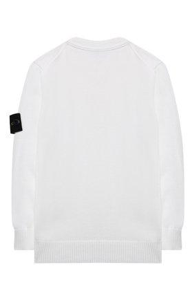 Детский хлопковый пуловер STONE ISLAND белого цвета, арт. 7416501A4/4 | Фото 2