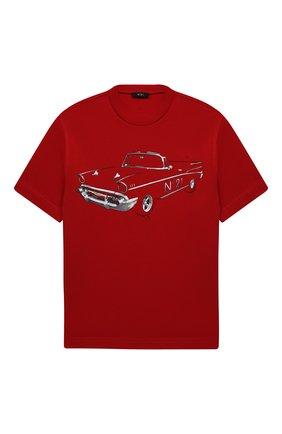 Детская хлопковая футболка N21 красного цвета, арт. N21035/N0003/N21T81M   Фото 1