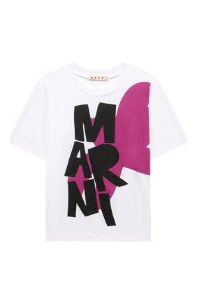 Детская хлопковая футболка MARNI белого цвета, арт. M00007-M00H7   Фото 1