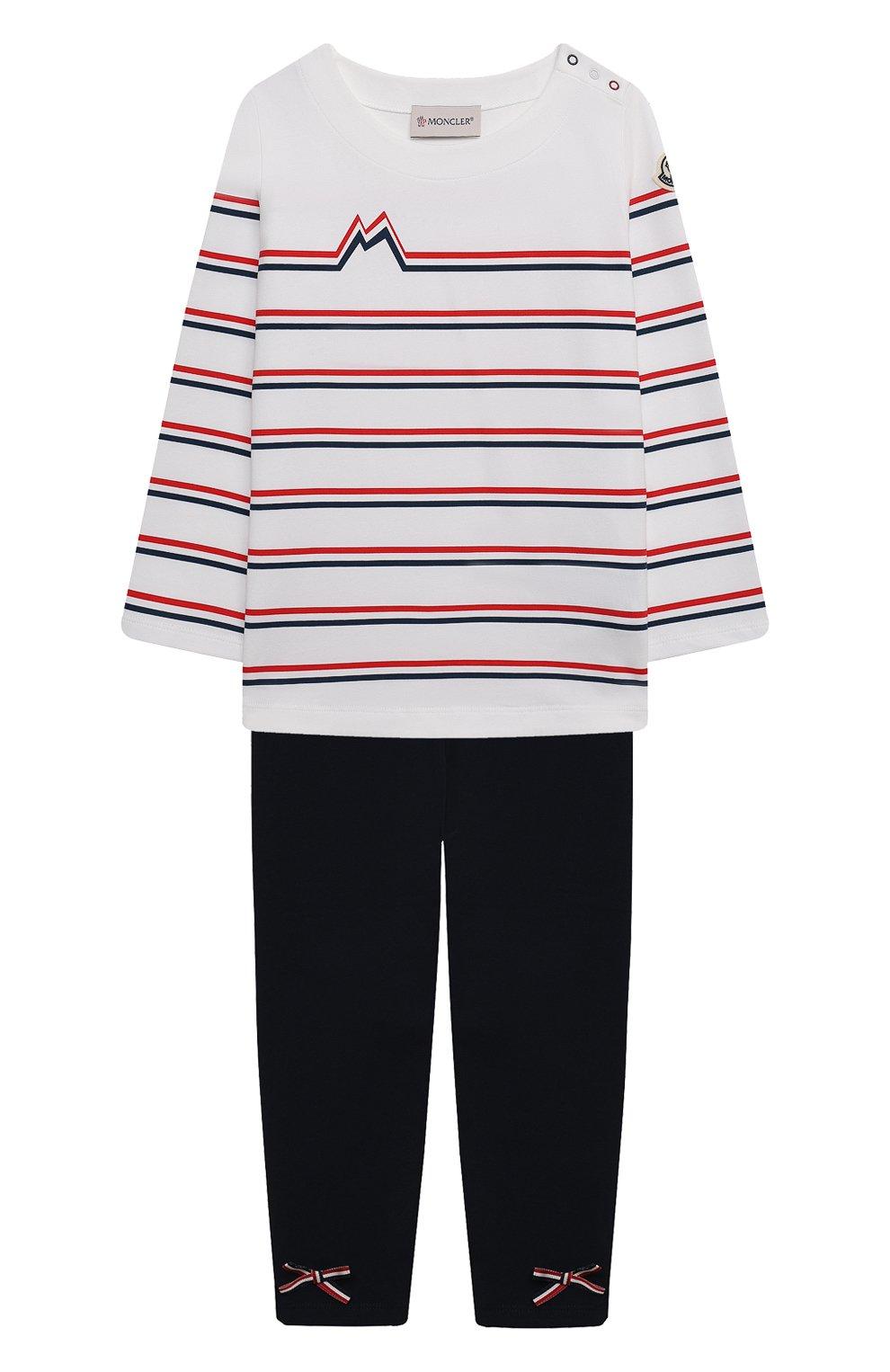Детский комплект из лонгслива с брюками MONCLER белого цвета, арт. G1-951-8M739-10-8790A | Фото 1