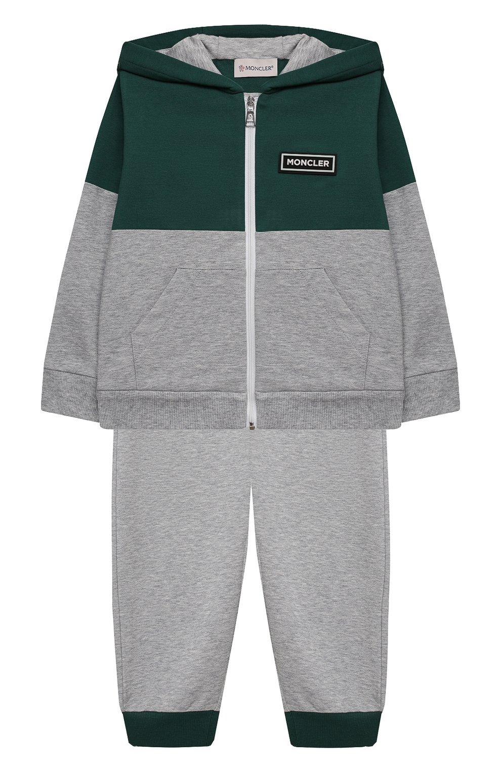 Детский комплект из толстовки с брюками MONCLER серого цвета, арт. G1-951-8M756-20-809AC   Фото 1