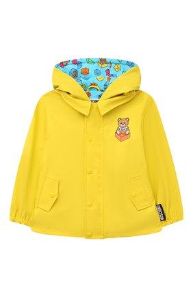 Детского куртка с капюшоном MOSCHINO желтого цвета, арт. MUS01U/L3A35 | Фото 1 (Рукава: Длинные; Материал внешний: Синтетический материал; Материал подклада: Хлопок; Ростовка одежда: 12 мес | 80 см, 18 мес | 86 см, 24 мес | 92 см, 36 мес | 98 см)