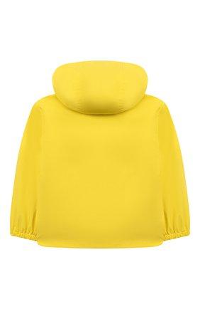 Детского куртка с капюшоном MOSCHINO желтого цвета, арт. MUS01U/L3A35 | Фото 2 (Рукава: Длинные; Материал внешний: Синтетический материал; Материал подклада: Хлопок; Ростовка одежда: 12 мес | 80 см, 18 мес | 86 см, 24 мес | 92 см, 36 мес | 98 см)