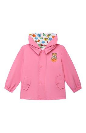 Детского куртка с капюшоном MOSCHINO розового цвета, арт. MUS01U/L3A35 | Фото 1 (Материал внешний: Синтетический материал; Материал подклада: Хлопок; Рукава: Длинные; Ростовка одежда: 12 мес | 80 см, 18 мес | 86 см, 24 мес | 92 см, 36 мес | 98 см)