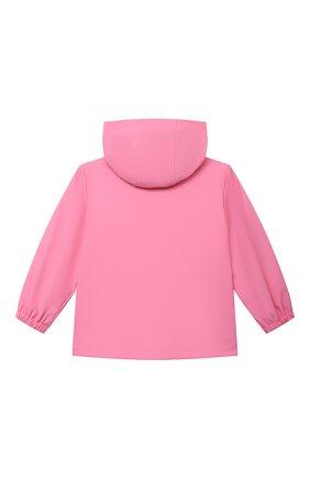 Детского куртка с капюшоном MOSCHINO розового цвета, арт. MUS01U/L3A35 | Фото 2 (Материал внешний: Синтетический материал; Материал подклада: Хлопок; Рукава: Длинные; Ростовка одежда: 12 мес | 80 см, 18 мес | 86 см, 24 мес | 92 см, 36 мес | 98 см)