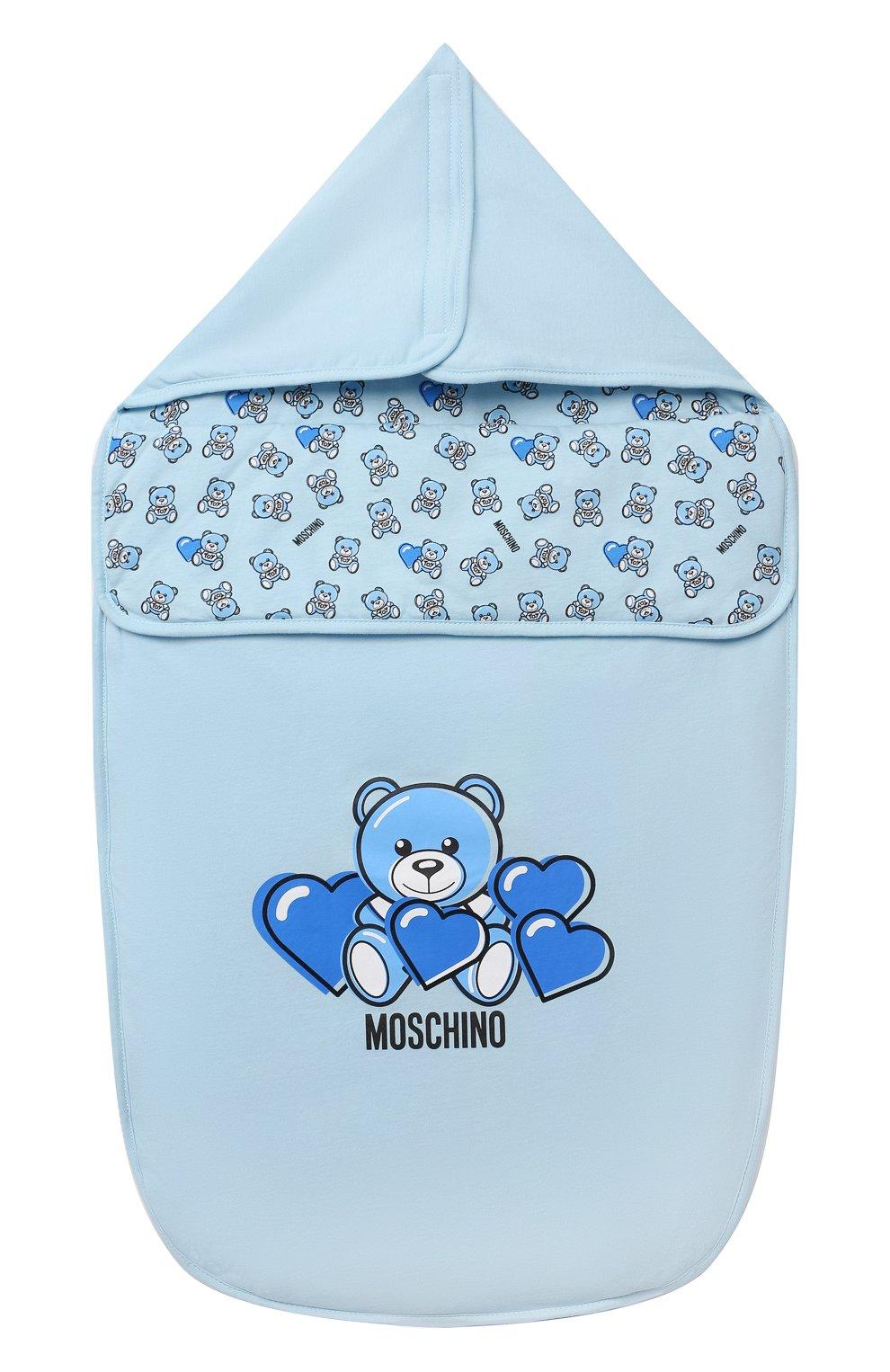Детский хлопковый конверт MOSCHINO голубого цвета, арт. MXE005/LAA03 | Фото 1