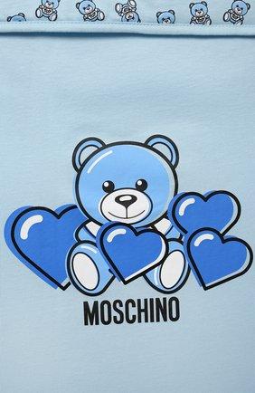 Детский хлопковый конверт MOSCHINO голубого цвета, арт. MXE005/LAA03 | Фото 3