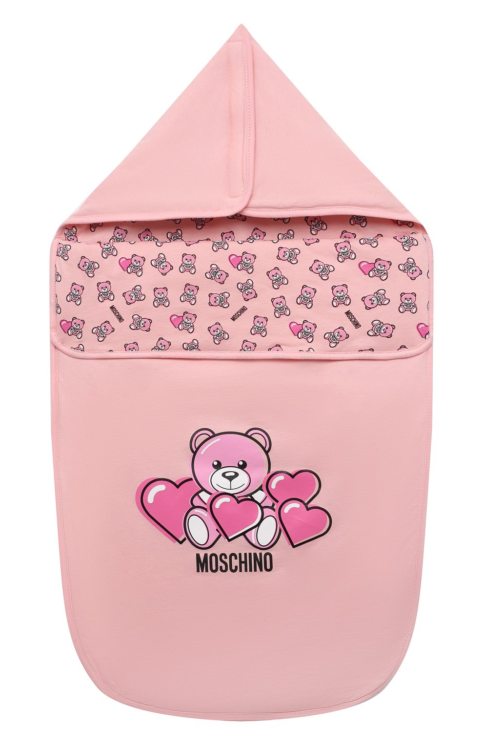 Детский хлопковый конверт MOSCHINO розового цвета, арт. MXE005/LAA03 | Фото 1