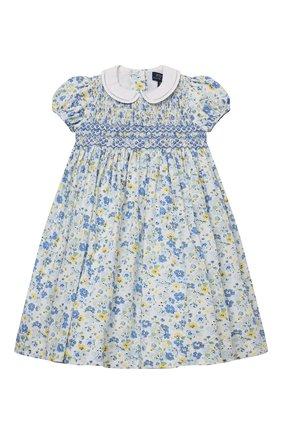 Детское хлопковое платье POLO RALPH LAUREN синего цвета, арт. 311835408 | Фото 1