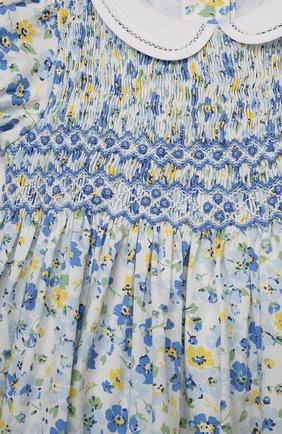 Детское хлопковое платье POLO RALPH LAUREN синего цвета, арт. 311835408 | Фото 3