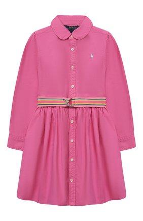 Детское хлопковое платье POLO RALPH LAUREN розового цвета, арт. 312835211 | Фото 1