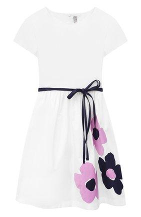 Детское хлопковое платье IL GUFO белого цвета, арт. P21VM608C0046/5A-8A | Фото 1