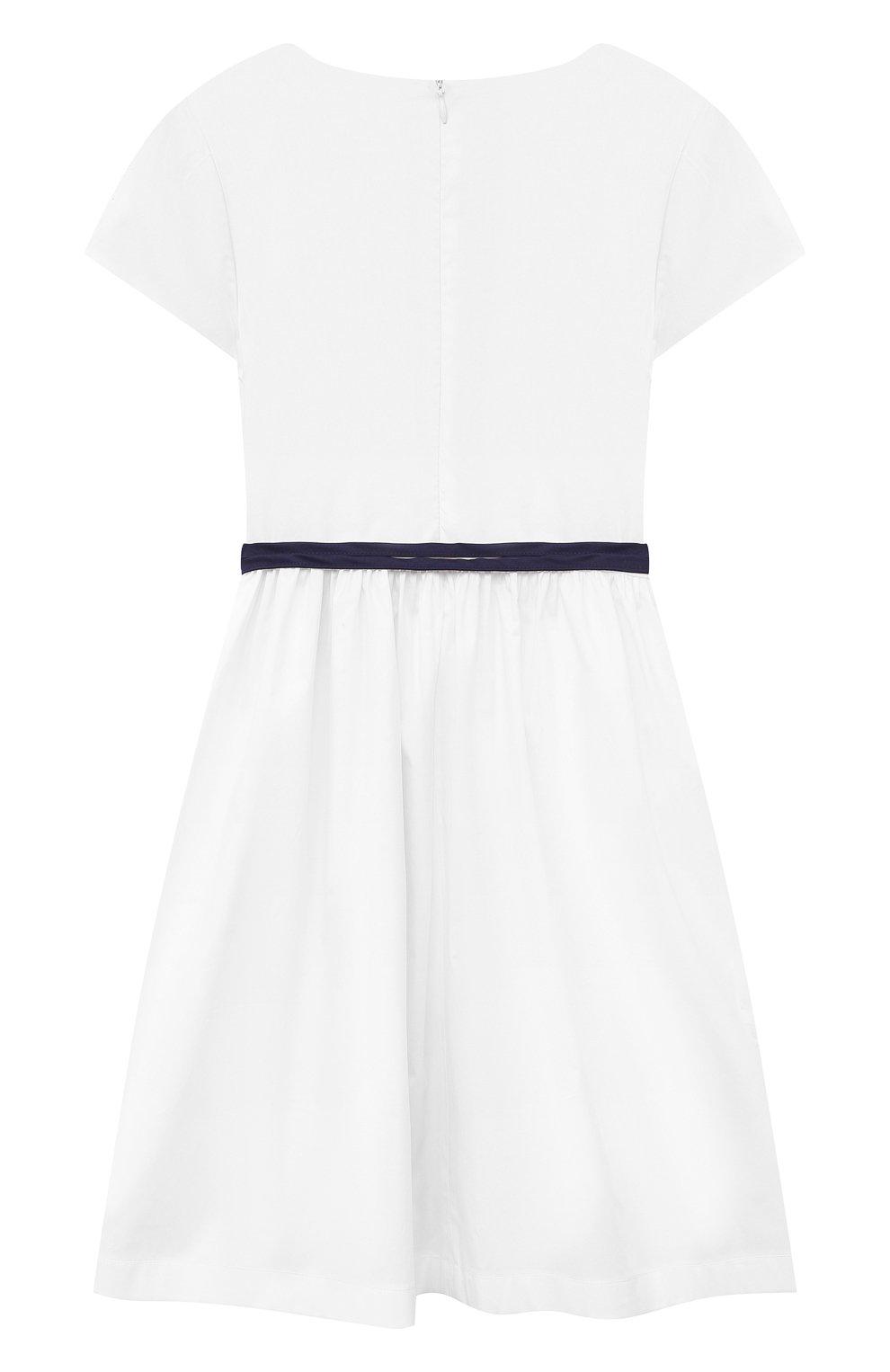 Детское хлопковое платье IL GUFO белого цвета, арт. P21VM608C0046/5A-8A | Фото 2
