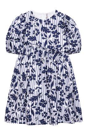 Детское хлопковое платье IL GUFO темно-синего цвета, арт. P21VM606C4070/5A-8A   Фото 1 (Материал внешний: Хлопок; Случай: Повседневный; Материал подклада: Хлопок; Рукава: Короткие; Девочки Кросс-КТ: Платье-одежда; Ростовка одежда: 4 года   104 см, 5 лет   110 см, 7 лет   122 см)