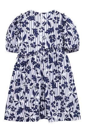 Детское хлопковое платье IL GUFO темно-синего цвета, арт. P21VM606C4070/5A-8A   Фото 2 (Материал внешний: Хлопок; Случай: Повседневный; Материал подклада: Хлопок; Рукава: Короткие; Девочки Кросс-КТ: Платье-одежда; Ростовка одежда: 4 года   104 см, 5 лет   110 см, 7 лет   122 см)