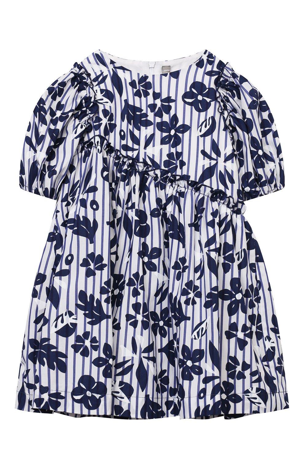 Детское хлопковое платье IL GUFO темно-синего цвета, арт. P21VM606C4070/2A-4A   Фото 1