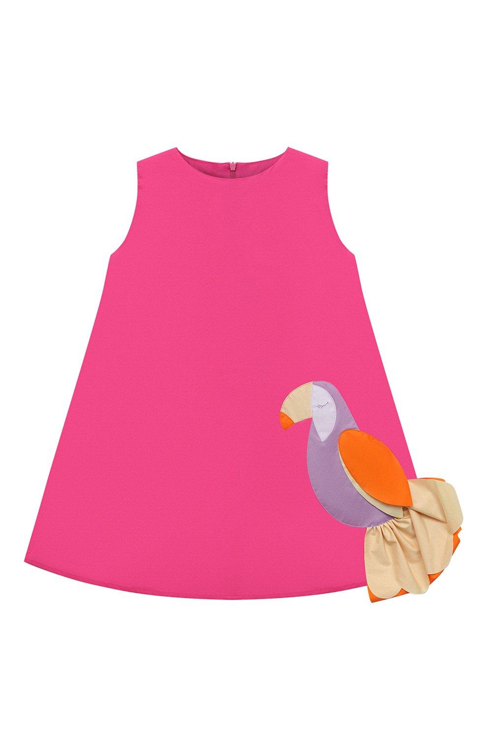 Детское хлопковое платье IL GUFO розового цвета, арт. P21VA274C0046/5A-8A | Фото 1