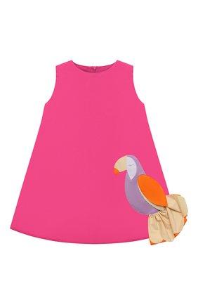 Детское хлопковое платье IL GUFO розового цвета, арт. P21VA274C0046/2A-4A   Фото 1 (Материал внешний: Хлопок; Рукава: Короткие; Материал подклада: Хлопок; Случай: Повседневный; Девочки Кросс-КТ: Платье-одежда; Ростовка одежда: 18 мес   86 см, 24 мес   92 см, 2 года   92 см, 3 года   98 см)