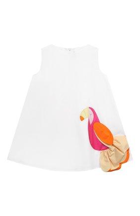 Детское хлопковое платье IL GUFO белого цвета, арт. P21VA274C0046/2A-4A | Фото 1