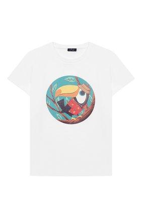 Детская хлопковая футболка IL GUFO белого цвета, арт. P21TS311M0014/5A-8A   Фото 1