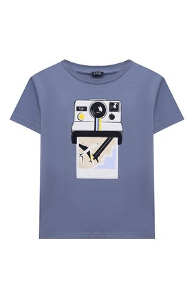 Детская хлопковая футболка IL GUFO голубого цвета, арт. P21TS288M0014/2A-4A   Фото 1