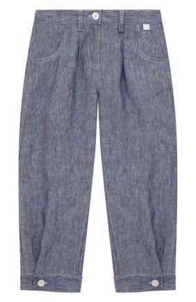 Детские льняные брюки IL GUFO синего цвета, арт. P21PL325L1012/5A-8A | Фото 1