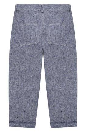 Детские льняные брюки IL GUFO синего цвета, арт. P21PL325L1012/5A-8A | Фото 2
