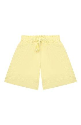 Детские хлопковые шорты IL GUFO желтого цвета, арт. P21PB148C6032/5A-8A   Фото 1 (Материал внешний: Хлопок; Девочки Кросс-КТ: Шорты-одежда; Ростовка одежда: 4 года   104 см, 5 лет   110 см, 7 лет   122 см)