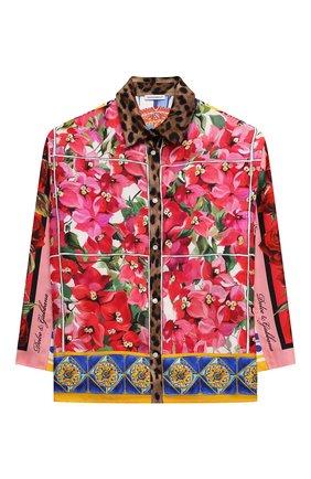 Детское шелковая блузка DOLCE & GABBANA разноцветного цвета, арт. L55S18/G7YSF/8-14   Фото 1 (Рукава: Длинные; Материал внешний: Шелк; Ростовка одежда: 10 - 11 лет   140 - 146см, 12 лет   152 см, 8 лет   128 см)