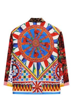 Детское шелковая блузка DOLCE & GABBANA разноцветного цвета, арт. L55S18/G7YSF/8-14   Фото 2 (Рукава: Длинные; Материал внешний: Шелк; Ростовка одежда: 10 - 11 лет   140 - 146см, 12 лет   152 см, 8 лет   128 см)