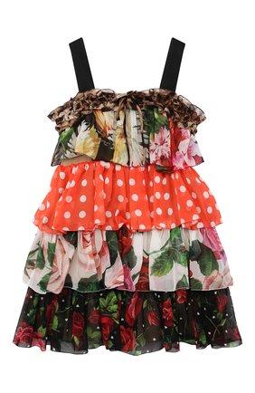 Детское шелковое платье DOLCE & GABBANA разноцветного цвета, арт. L52DT1/G7YQS/2-6 | Фото 1 (Материал подклада: Шелк; Материал внешний: Шелк; Случай: Повседневный; Девочки Кросс-КТ: Платье-одежда; Рукава: Короткие; Ростовка одежда: 2 года | 92 см, 3 года | 98 см, 4 года | 104 см, 5 лет | 110 см, 6 лет | 116 см)