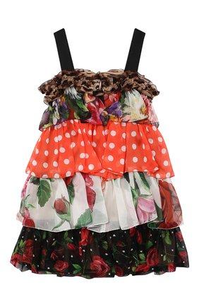 Детское шелковое платье DOLCE & GABBANA разноцветного цвета, арт. L52DT1/G7YQS/2-6 | Фото 2 (Материал подклада: Шелк; Материал внешний: Шелк; Случай: Повседневный; Девочки Кросс-КТ: Платье-одежда; Рукава: Короткие; Ростовка одежда: 2 года | 92 см, 3 года | 98 см, 4 года | 104 см, 5 лет | 110 см, 6 лет | 116 см)