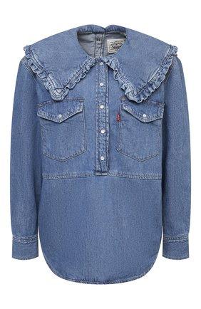 Женская джинсовая блузка ganni x levi's GANNI синего цвета, арт. F6088 | Фото 1 (Рукава: Длинные; Длина (для топов): Стандартные; Материал внешний: Хлопок; Кросс-КТ: Деним; Женское Кросс-КТ: Блуза-одежда; Стили: Спорт-шик; Принт: Без принта)