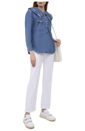 Женская джинсовая блузка ganni x levi's GANNI синего цвета, арт. F6088 | Фото 2 (Рукава: Длинные; Длина (для топов): Стандартные; Материал внешний: Хлопок; Кросс-КТ: Деним; Женское Кросс-КТ: Блуза-одежда; Стили: Спорт-шик; Принт: Без принта)