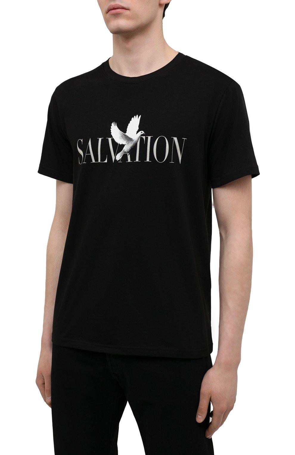 Мужская хлопковая футболка TEE LIBRARY черного цвета, арт. TSK-TS-13   Фото 3 (Рукава: Короткие; Длина (для топов): Стандартные; Стили: Гранж; Принт: С принтом; Материал внешний: Хлопок)