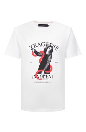 Мужская хлопковая футболка TEE LIBRARY белого цвета, арт. TSK-TS-08 | Фото 1 (Длина (для топов): Стандартные; Рукава: Короткие; Материал внешний: Хлопок; Принт: С принтом; Стили: Гранж)