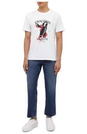 Мужская хлопковая футболка TEE LIBRARY белого цвета, арт. TSK-TS-08 | Фото 2 (Длина (для топов): Стандартные; Рукава: Короткие; Материал внешний: Хлопок; Принт: С принтом; Стили: Гранж)
