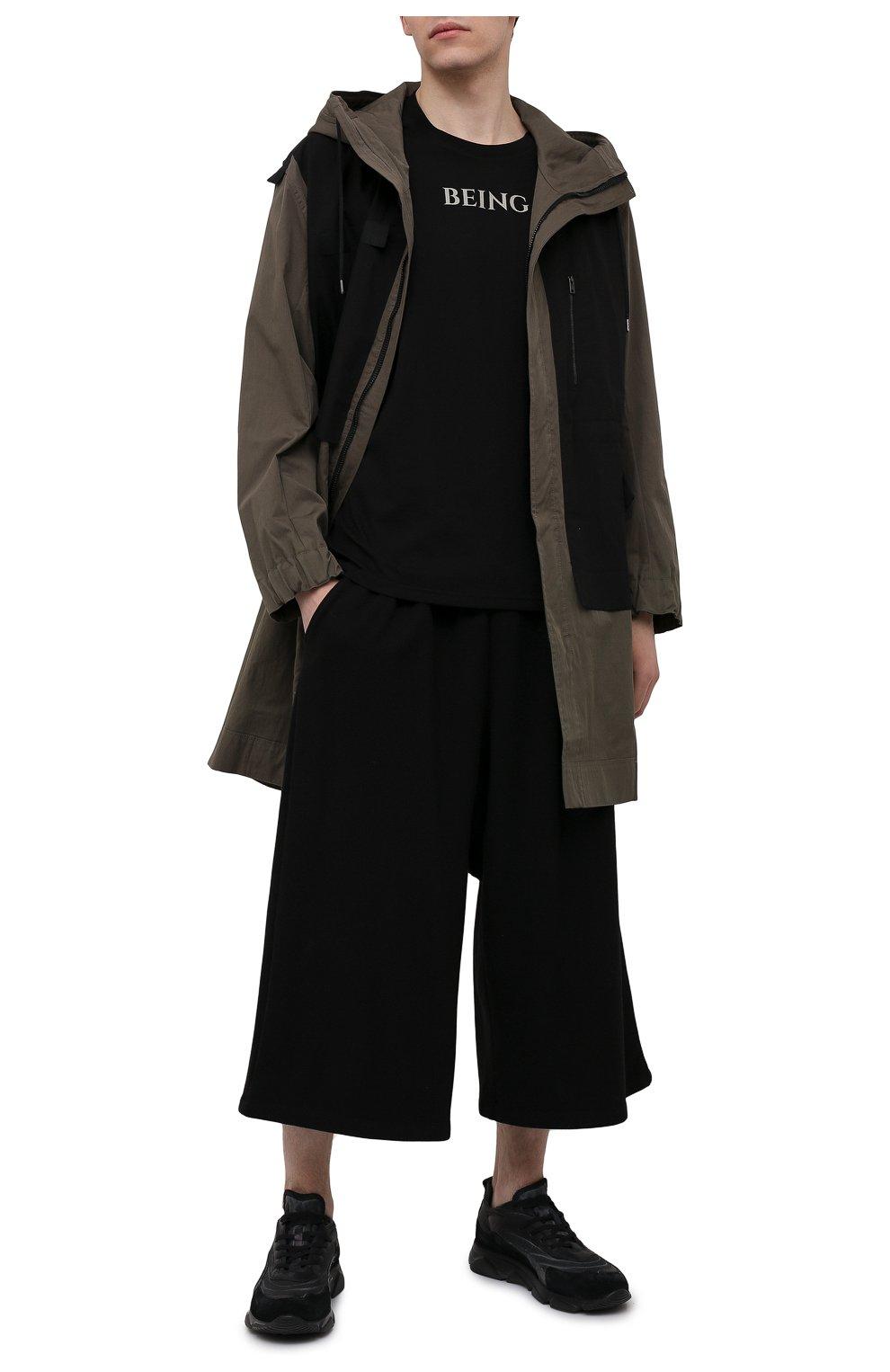 Мужские хлопковые брюки TEE LIBRARY черного цвета, арт. TSK-PT-49   Фото 2 (Случай: Повседневный; Материал внешний: Хлопок; Стили: Минимализм; Длина (брюки, джинсы): Укороченные)