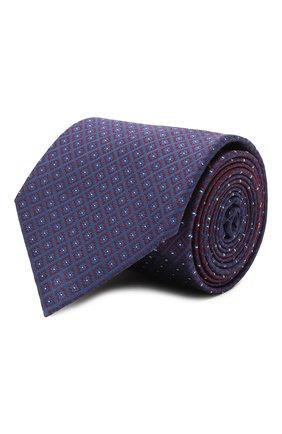 Мужской шелковый галстук BRIONI темно-синего цвета, арт. 061Q00/P0498 | Фото 1 (Материал: Текстиль, Шелк; Принт: С принтом)