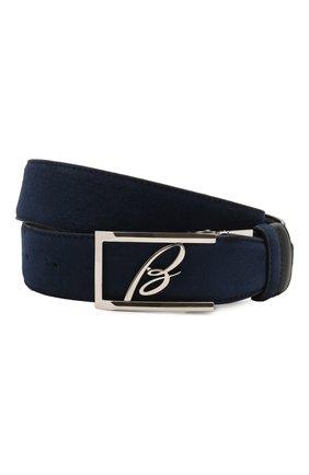 Мужской замшевый ремень BRIONI темно-синего цвета, арт. 0BAP0L/09721 | Фото 1