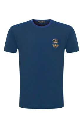Мужская хлопковая футболка DOLCE & GABBANA синего цвета, арт. G8MM6Z/FU7EQ | Фото 1