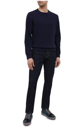 Мужские замшевые кеды SERGIO ROSSI темно-синего цвета, арт. A87090-MFI344 | Фото 2