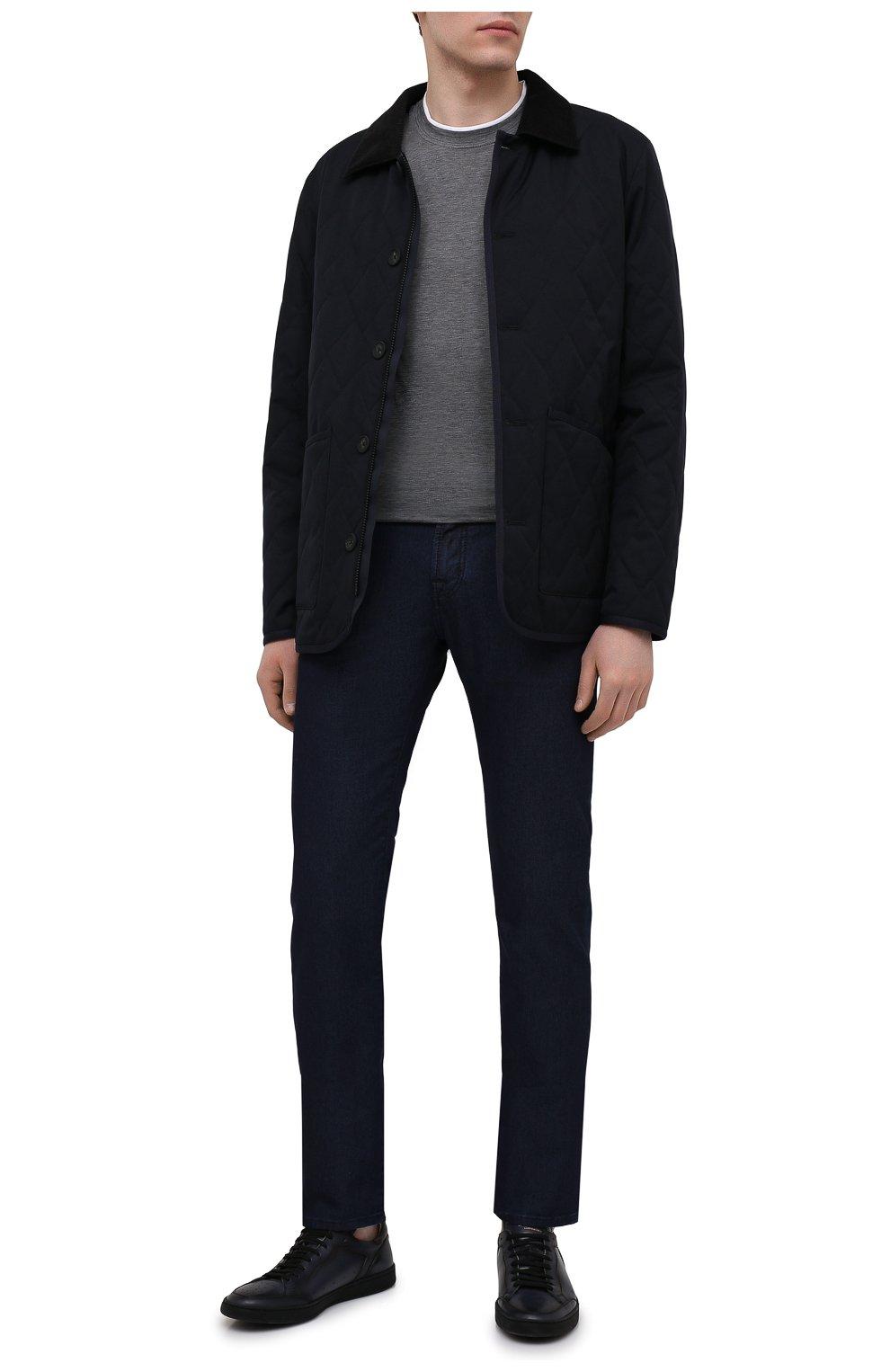 Мужские кожаные кеды OFFICINE CREATIVE темно-синего цвета, арт. KAREEM LUX/001/AER0 BUTTER0 | Фото 2 (Материал внутренний: Натуральная кожа; Подошва: Плоская)