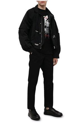 Мужские кожаные кеды OFFICINE CREATIVE черного цвета, арт. ACEPLUS/001/GUANTERIA | Фото 2
