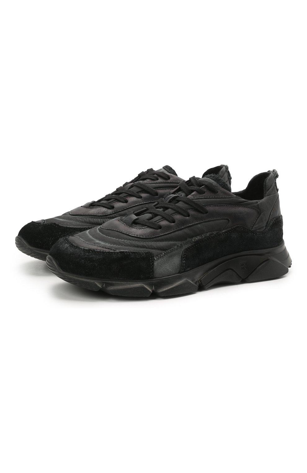 Мужские комбинированные кроссовки MOMA черного цвета, арт. 4AS130-ML | Фото 1 (Материал внешний: Текстиль; Материал внутренний: Натуральная кожа; Стили: Гранж; Подошва: Массивная)