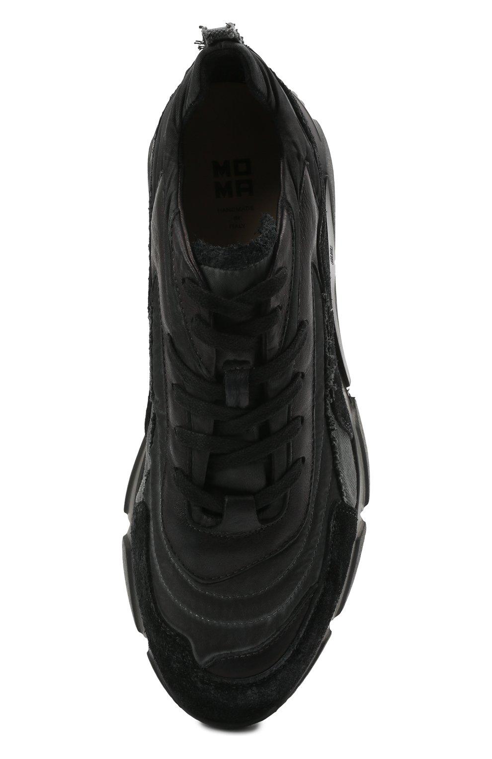 Мужские комбинированные кроссовки MOMA черного цвета, арт. 4AS130-ML | Фото 5 (Материал внешний: Текстиль; Материал внутренний: Натуральная кожа; Стили: Гранж; Подошва: Массивная)
