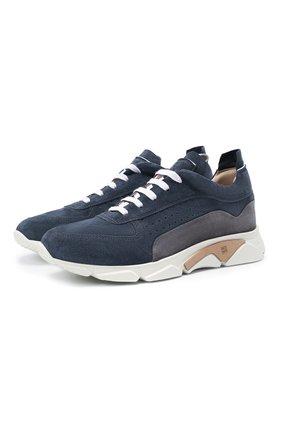 Мужские замшевые кроссовки MOMA темно-синего цвета, арт. 4AS018-T0 | Фото 1