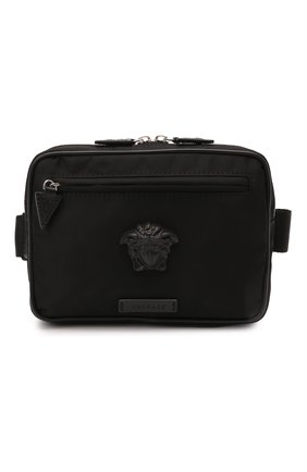 Мужская текстильная поясная сумка la medusa VERSACE черного цвета, арт. DFB8580/DNY8ME | Фото 1